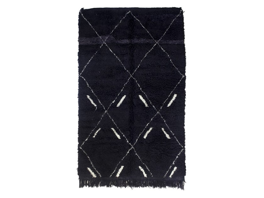Long pile rectangular wool rug with geometric shapes BENI OURAIN TAA1247BE by AFOLKI