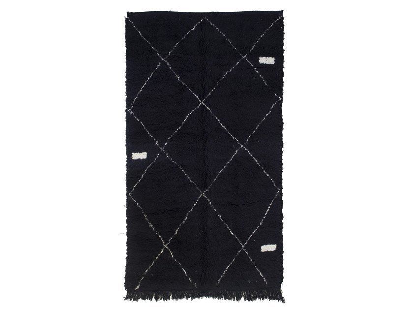 Long pile rectangular wool rug with geometric shapes BENI OURAIN TAA1249BE by AFOLKI
