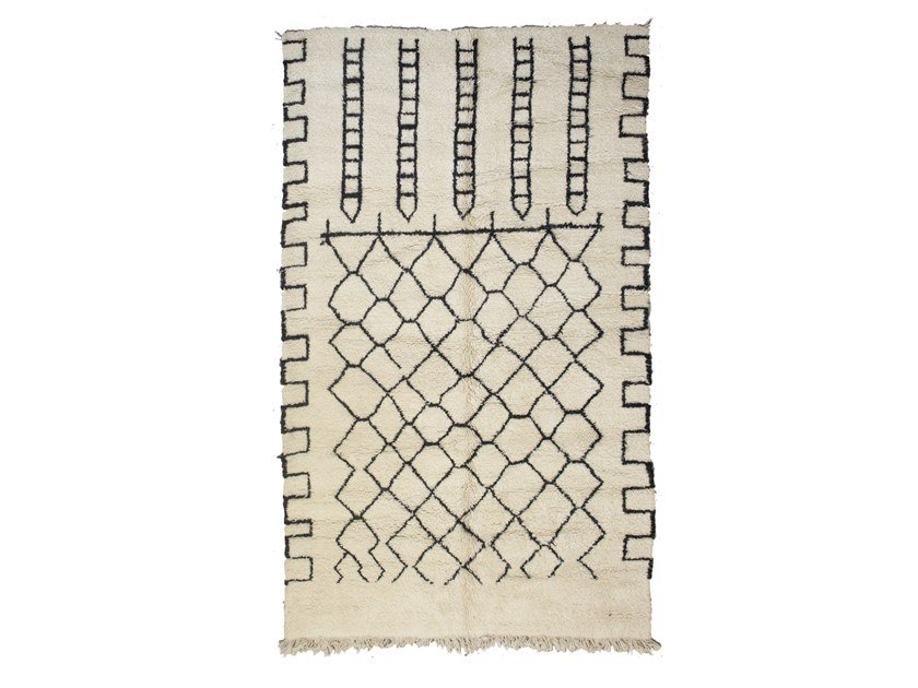 Patterned long pile rectangular wool rug BENI OURAIN TAA1253BE by AFOLKI