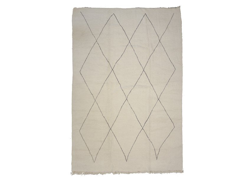 Long pile rectangular wool rug with geometric shapes BENI OURAIN TAA1255BE by AFOLKI