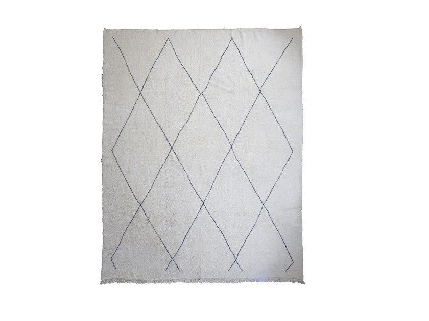 Long pile rectangular wool rug with geometric shapes BENI OURAIN TAA1257BE by AFOLKI