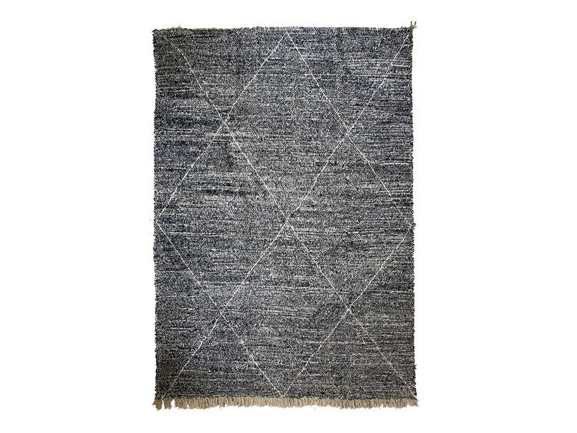 Long pile rectangular wool rug with geometric shapes BENI OURAIN TAA1259BE by AFOLKI