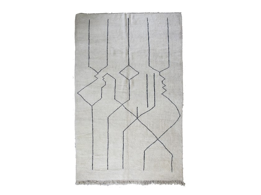 Patterned long pile rectangular wool rug BENI OURAIN TAA1260BE by AFOLKI