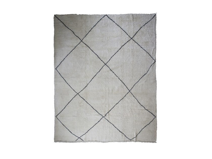 Long pile rectangular wool rug with geometric shapes BENI OURAIN TAA1261BE by AFOLKI