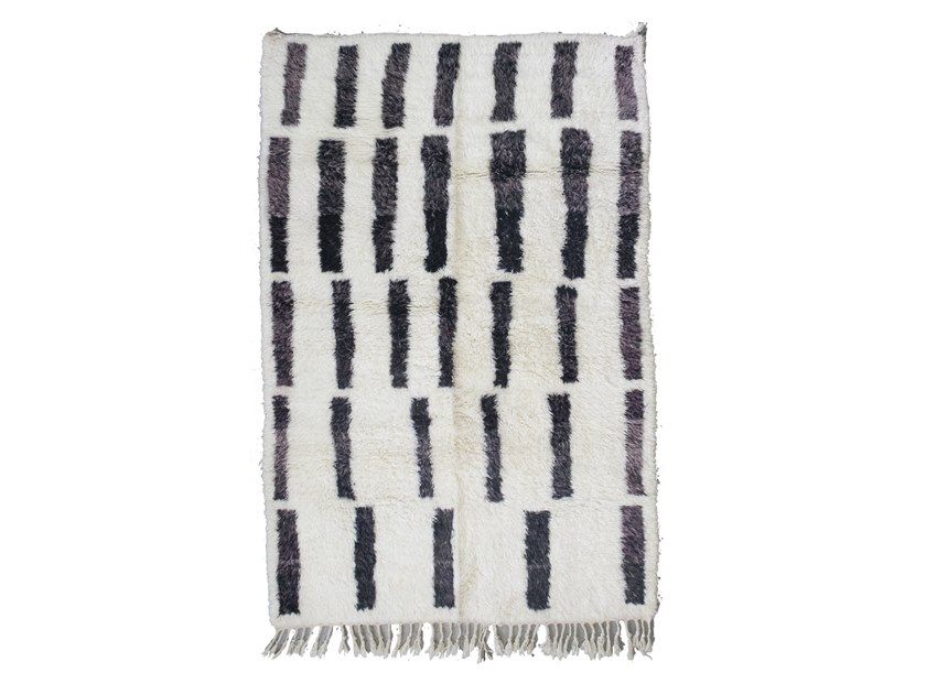 Patterned long pile rectangular wool rug BENI OURAIN TAA1262BE by AFOLKI