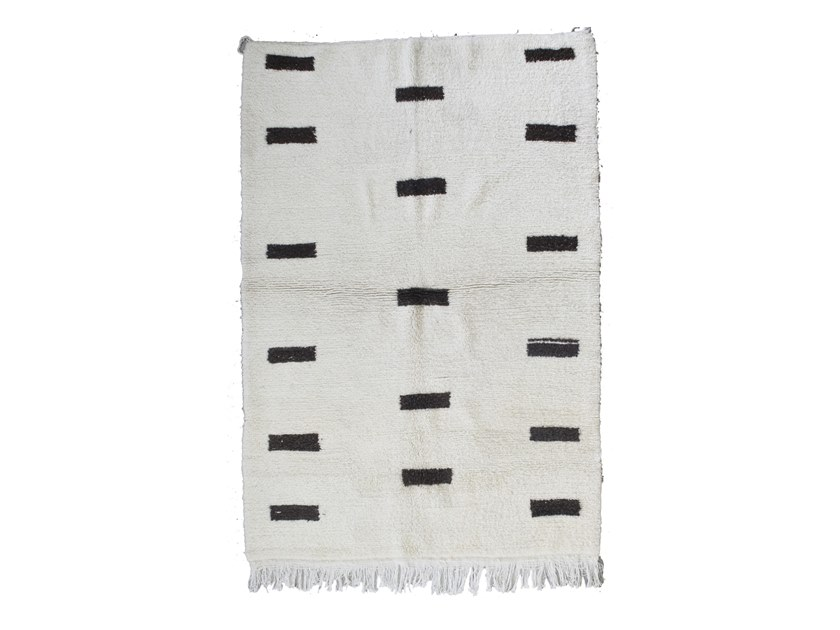 Patterned long pile rectangular wool rug BENI OURAIN TAA1266BE by AFOLKI