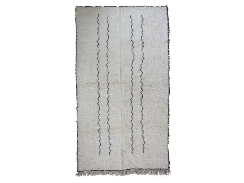 Long pile rectangular wool rug BENI OURAIN TAA1268BE by AFOLKI