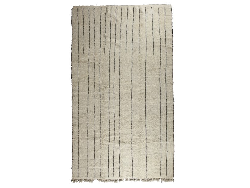 Patterned long pile rectangular wool rug BENI OURAIN TAA1275BE by AFOLKI