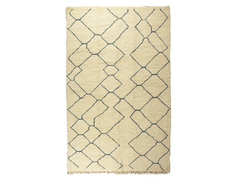 Patterned long pile rectangular wool rug BENI OURAIN TAA1276BE by AFOLKI