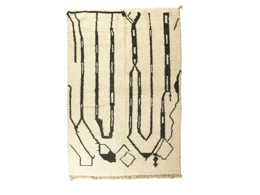 Patterned long pile rectangular wool rug BENI OURAIN TAA1277BE by AFOLKI
