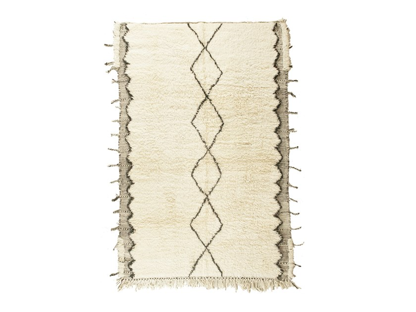 Patterned long pile rectangular wool rug BENI OURAIN TAA1278BE by AFOLKI