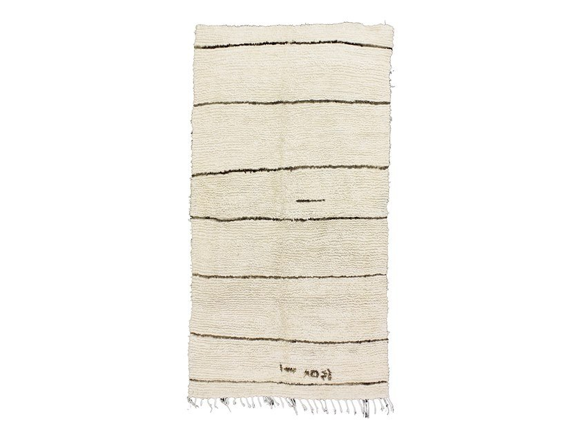 Long pile rectangular striped wool rug BENI OURAIN TAA354BE by AFOLKI