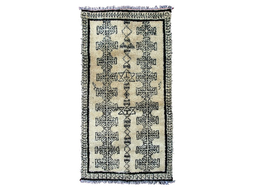 Patterned long pile rectangular wool rug BENI OURAIN TAA519BE by AFOLKI