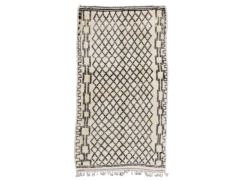 Long pile rectangular wool rug with geometric shapes BENI OURAIN TAA556BE by AFOLKI