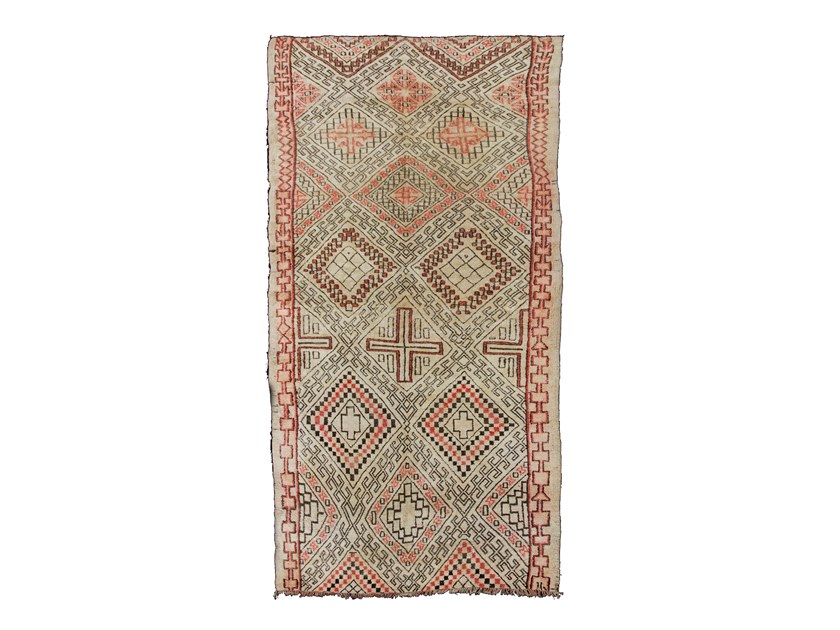Patterned long pile rectangular wool rug BENI OURAIN TAA562BE by AFOLKI