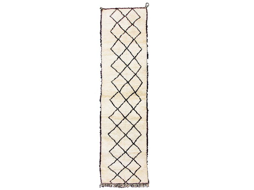 Long pile rectangular wool rug with geometric shapes BENI OURAIN TAA568BE by AFOLKI