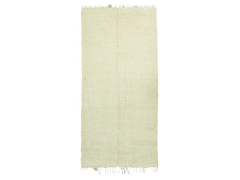 Long pile solid-color rectangular wool rug BENI OURAIN TAA649BE by AFOLKI