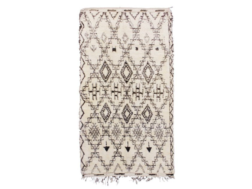 Long pile rectangular wool rug with geometric shapes BENI OURAIN TAA655BE by AFOLKI