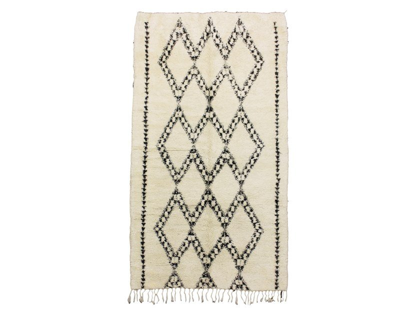 Long pile rectangular wool rug with geometric shapes BENI OURAIN TAA673BE by AFOLKI
