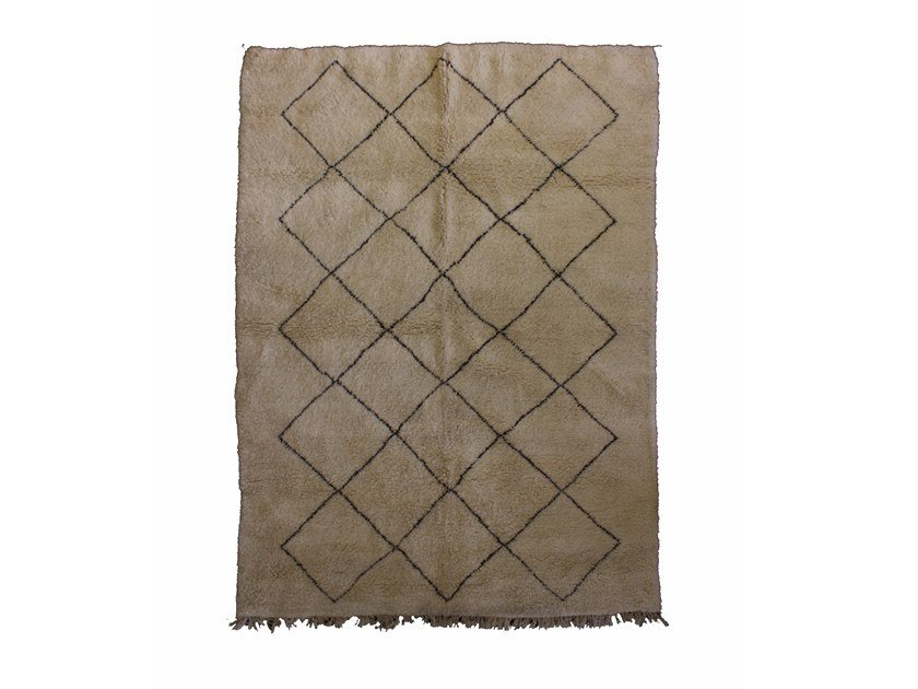 Long pile rectangular wool rug with geometric shapes BENI OURAIN TAA873BE by AFOLKI