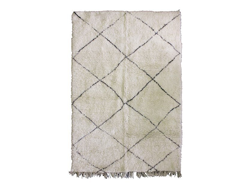 Long pile rectangular wool rug with geometric shapes BENI OURAIN TAA878BE by AFOLKI