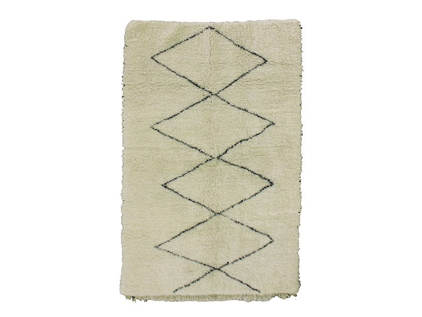 Patterned long pile rectangular wool rug BENI OURAIN TAA911BE by AFOLKI