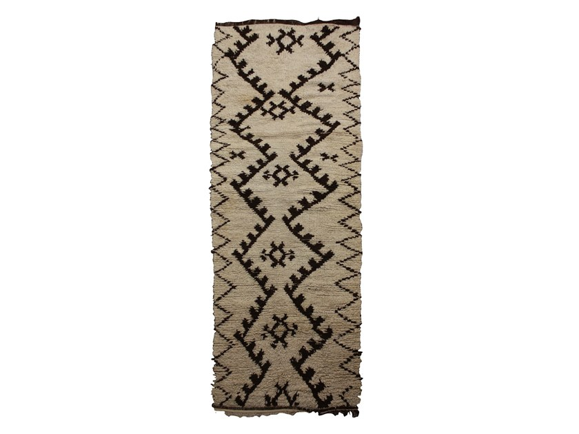 Patterned long pile rectangular wool rug BENI OURAIN TAA929BE by AFOLKI