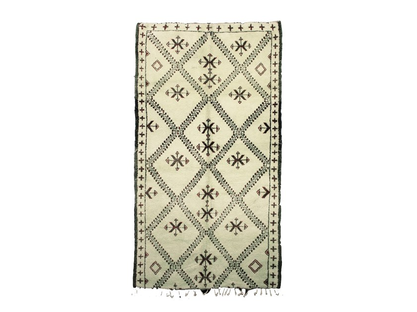 Long pile rectangular wool rug with geometric shapes BENI OURAIN TAA941BE by AFOLKI