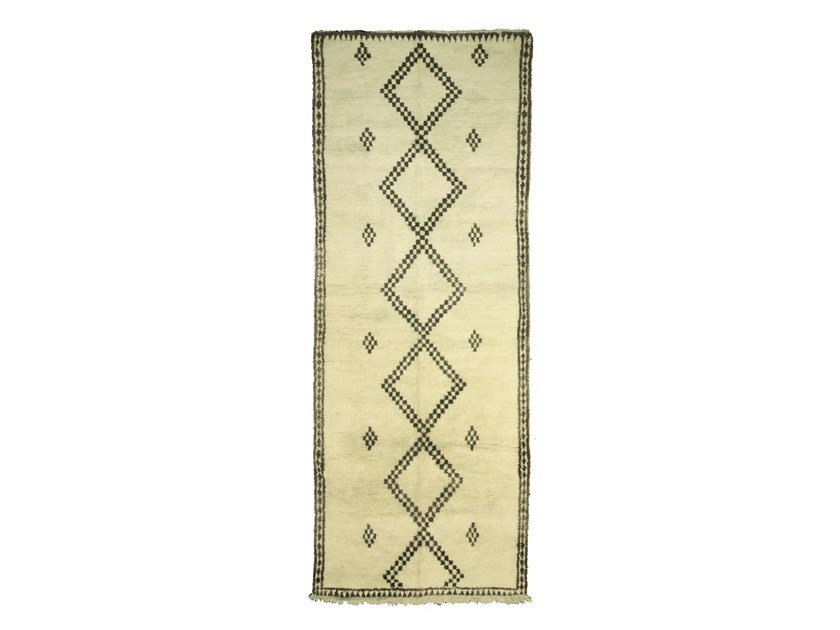 Long pile rectangular wool rug with geometric shapes BENI OURAIN TAA980BE by AFOLKI