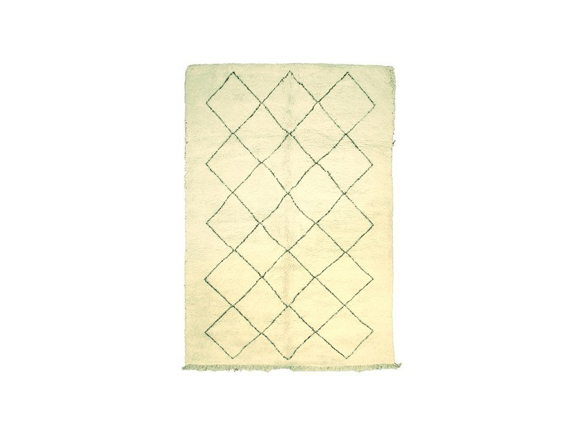 Long pile rectangular wool rug with geometric shapes BENI OURAIN TAA982BE by AFOLKI