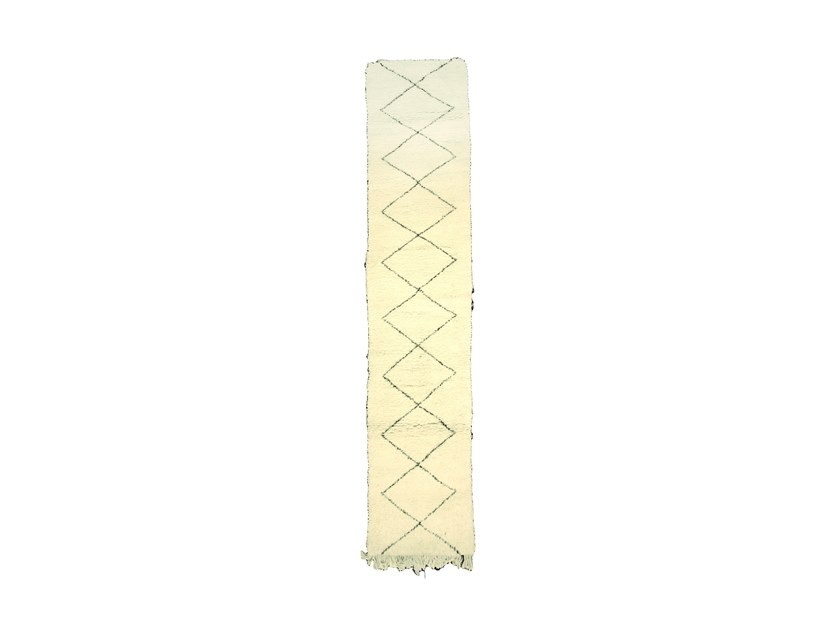 Long pile rectangular wool rug with geometric shapes BENI OURAIN TAA986BE by AFOLKI