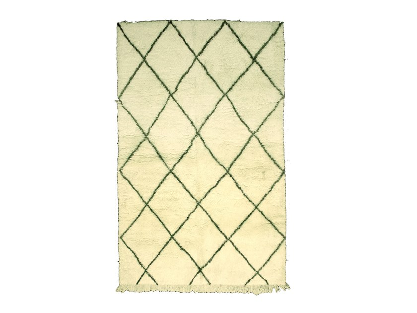 Long pile rectangular wool rug with geometric shapes BENI OURAIN TAA987BE by AFOLKI