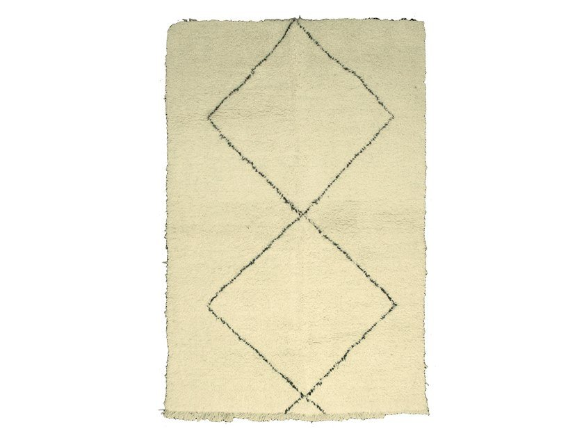 Long pile rectangular wool rug with geometric shapes BENI OURAIN TAA988BE by AFOLKI