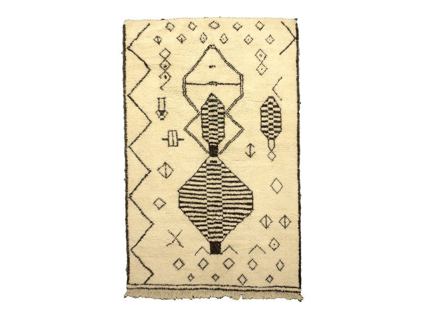 Patterned long pile rectangular wool rug BENI OURAIN TAA990BE by AFOLKI