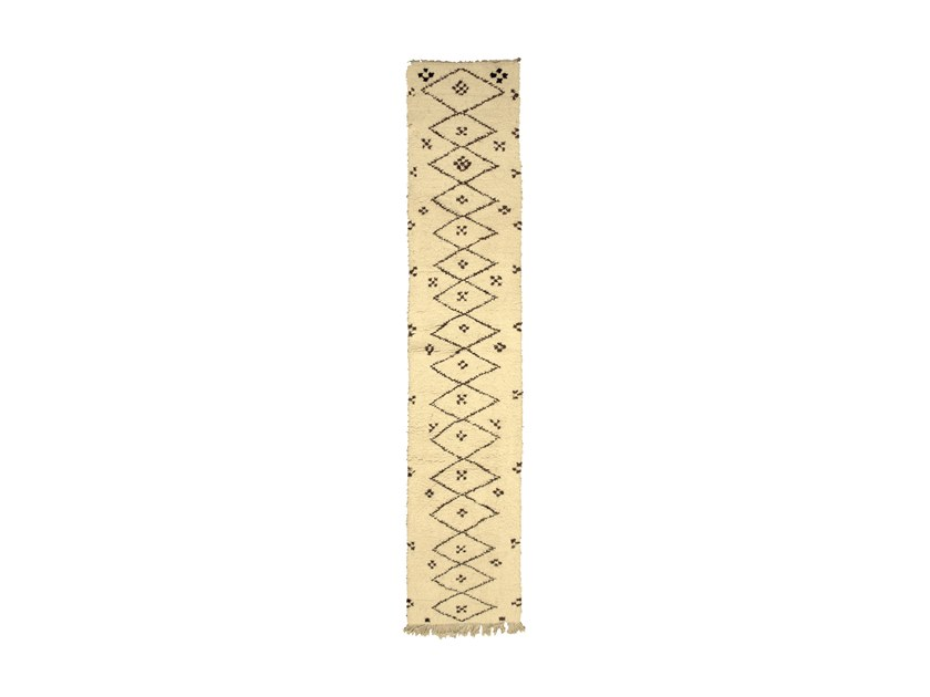 Long pile rectangular wool rug with geometric shapes BENI OURAIN TAA992BE by AFOLKI