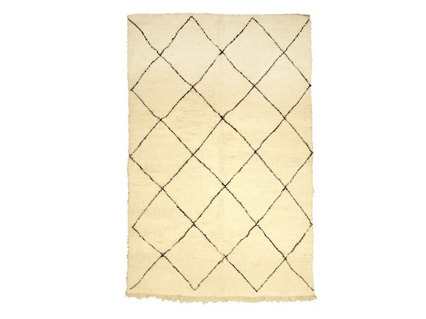 Long pile rectangular wool rug with geometric shapes BENI OURAIN TAA995BE by AFOLKI