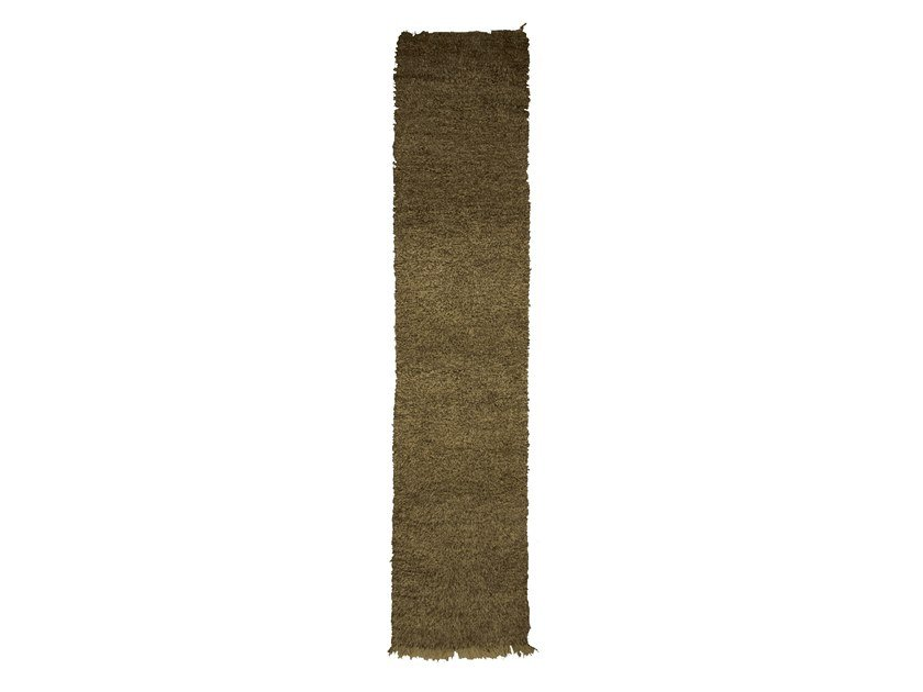 Long pile solid-color rectangular wool rug BENI OURAIN TAA997BE by AFOLKI