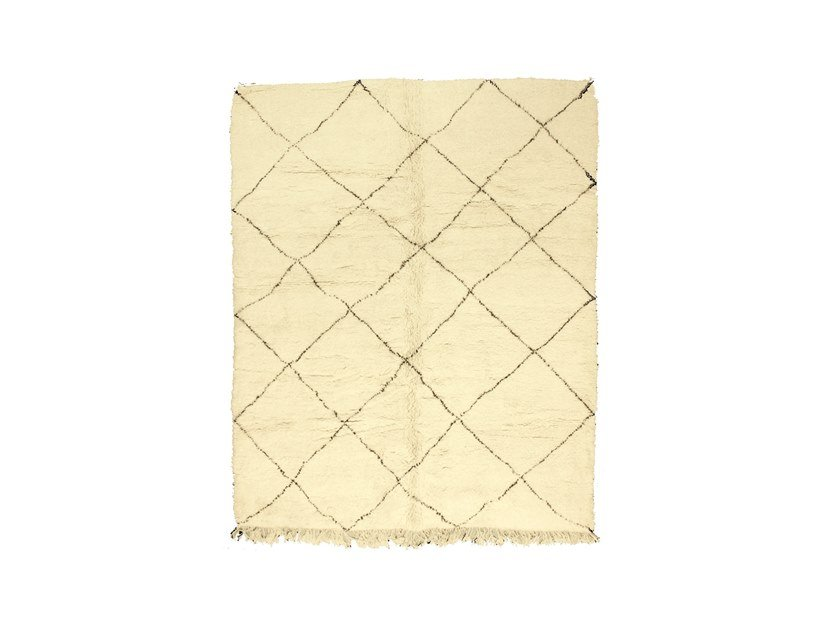 Long pile wool rug with geometric shapes BENI OURAIN TAA998BE by AFOLKI