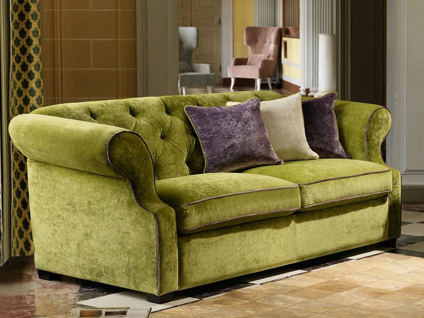 Tufted 3 Seater Fabric Sofa Benjamin By Domingo Salotti