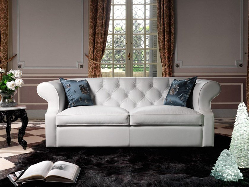 Tufted 3 seater leather sofa BENJAMIN | Leather sofa by Domingo Salotti