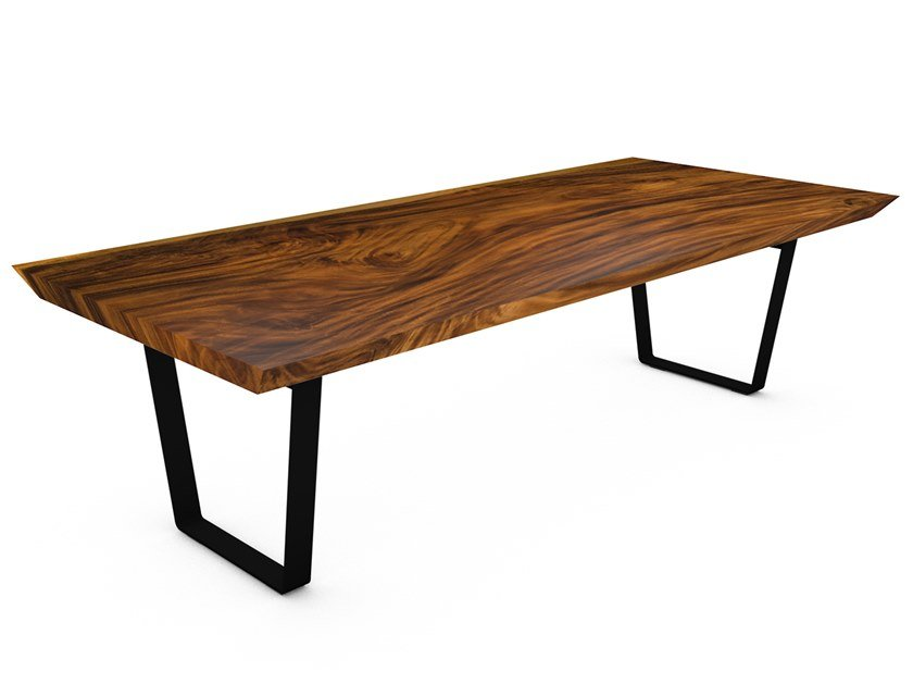 Table with Suar wood top and steel frame BERGAMO by CONTE CASERTA