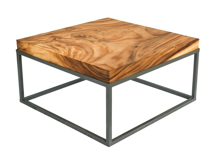 Low square Suar wood coffee table BERLIN   Square coffee table by CONTE CASERTA