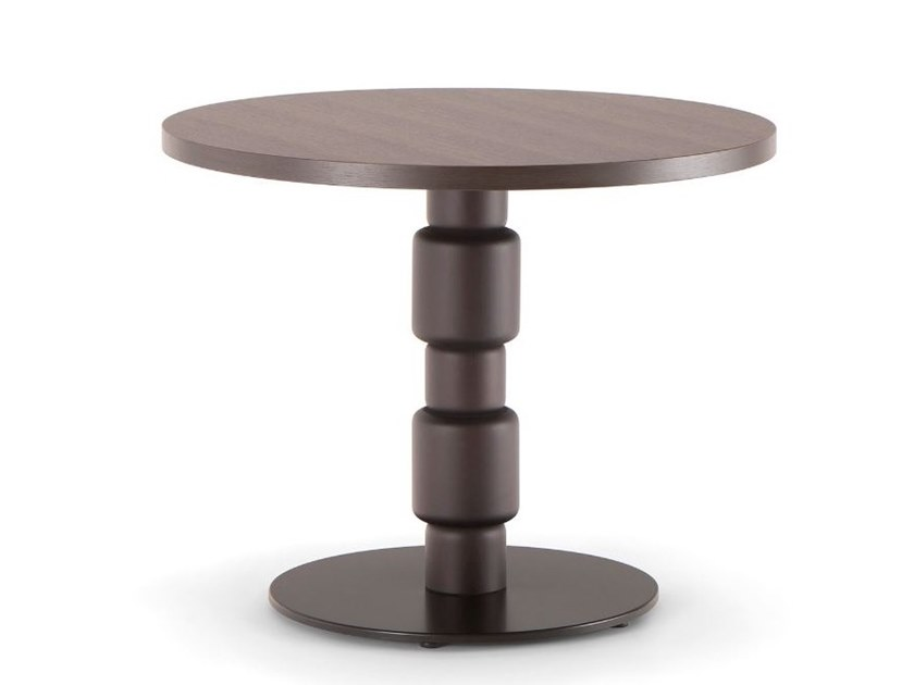 Low round solid wood and metal coffee table BERLINO | Coffee table by Tirolo