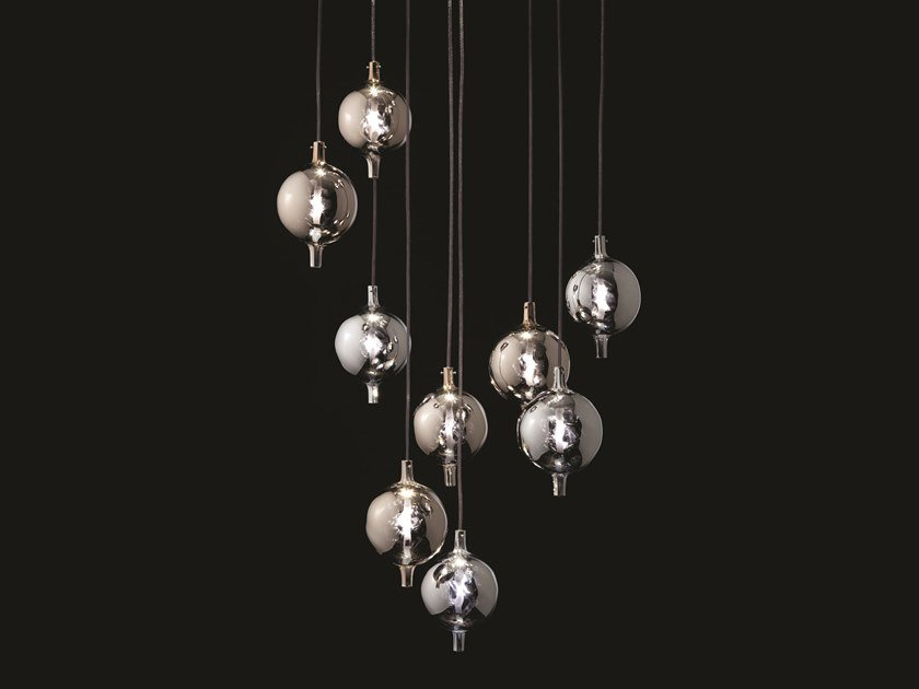 Blown glass pendant lamp BERRY METAL by melogranoblu