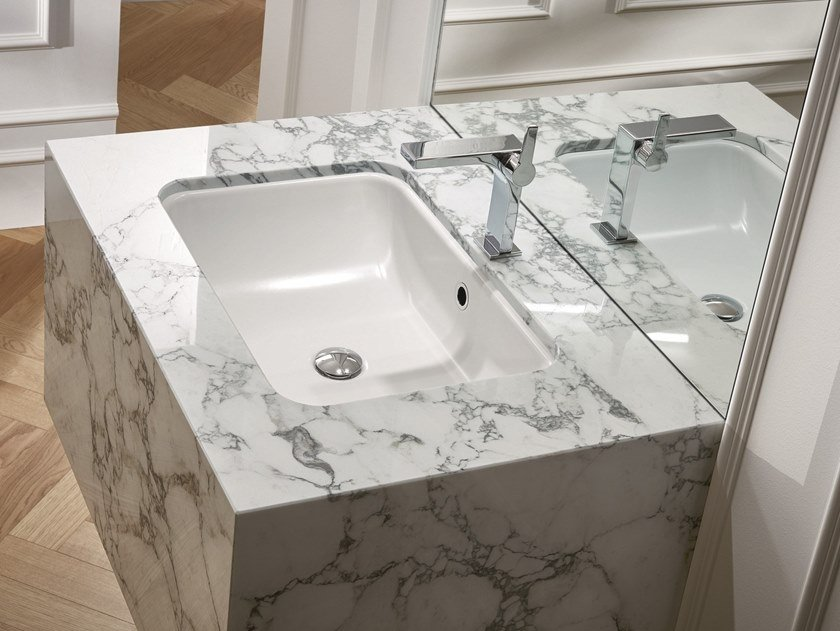 Undermount rectangular enamelled steel washbasin BETTEONE | Undermount washbasin by Bette