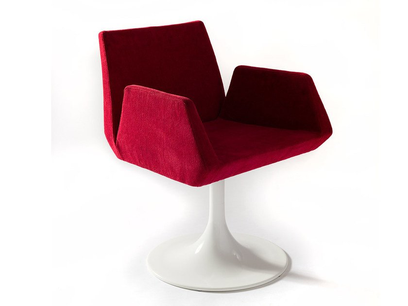 Swivel upholstered imitation leather easy chair BEVERLY KONE by Vela Arredamenti