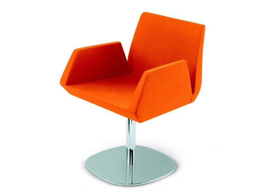 Swivel imitation leather easy chair with armrests BEVERLY ROUND by Vela Arredamenti