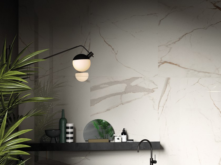 Porcelain stoneware wall/floor tiles with marble effect BIANCO CAL BO by Ceramica d'Imola