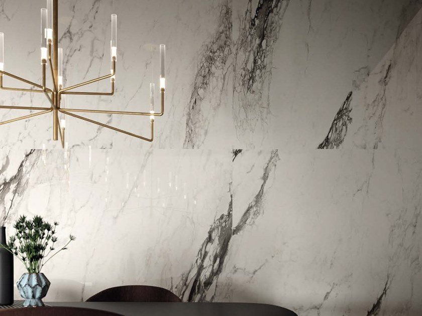 Porcelain stoneware wall/floor tiles with marble effect BIANCO CAL RE by Ceramica d'Imola