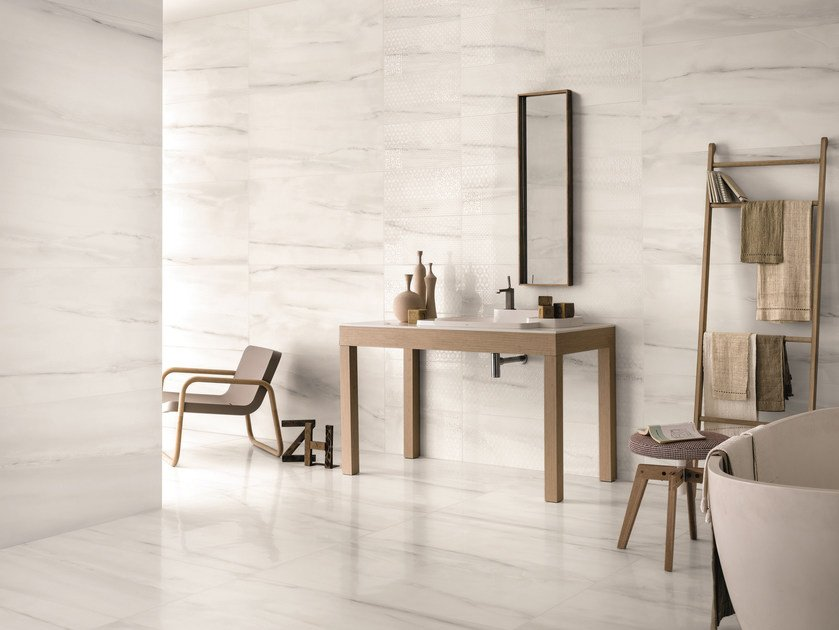 Porcelain stoneware wall/floor tiles with marble effect BIANCO D'ITALIA STATUARIO by Provenza by Emilgroup